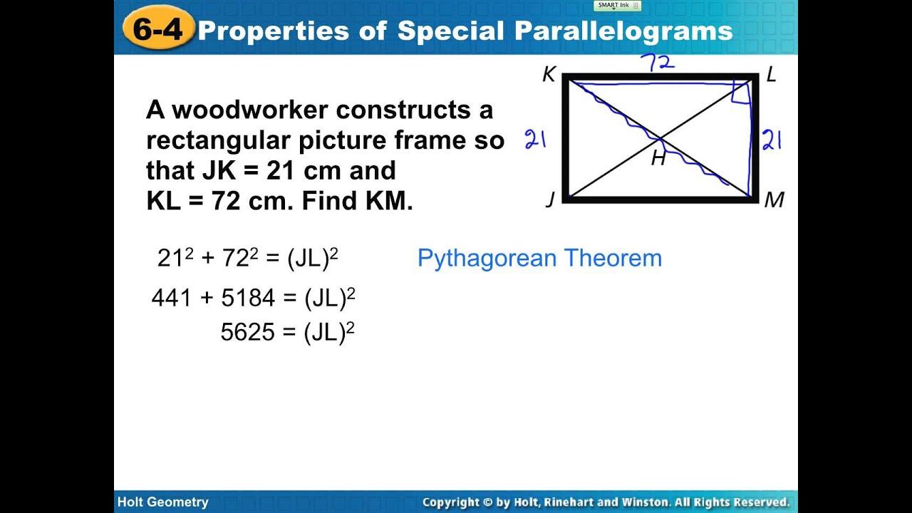 Geometry Lesson 6 4 Rectangle Rhombus Square