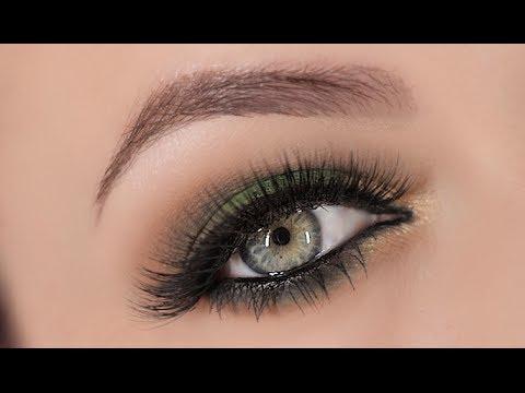 Green & Gold Smokey Eye Makeup Tutorial