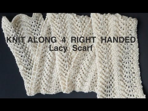 """EASY """"Peasy"""" Knitted Lacy Scarf (4 Righties)"""