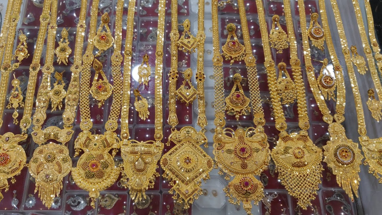 1 Gram Gold Plated Handmade Long Haram Collection,The Jewellery Place, WhatsApp 📲+919408758075 #Set