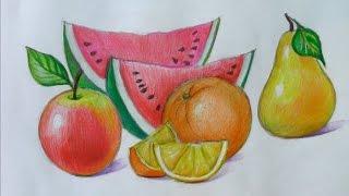 Уроки рисования. Как научится рисовать фрукты How to draw Fruit(Как научиться рисовать фрукты! Апельсин,яблоко, груша, лимон, арбуз - вот такой микс в этом видео уроке! ▻..., 2015-02-12T16:32:46.000Z)