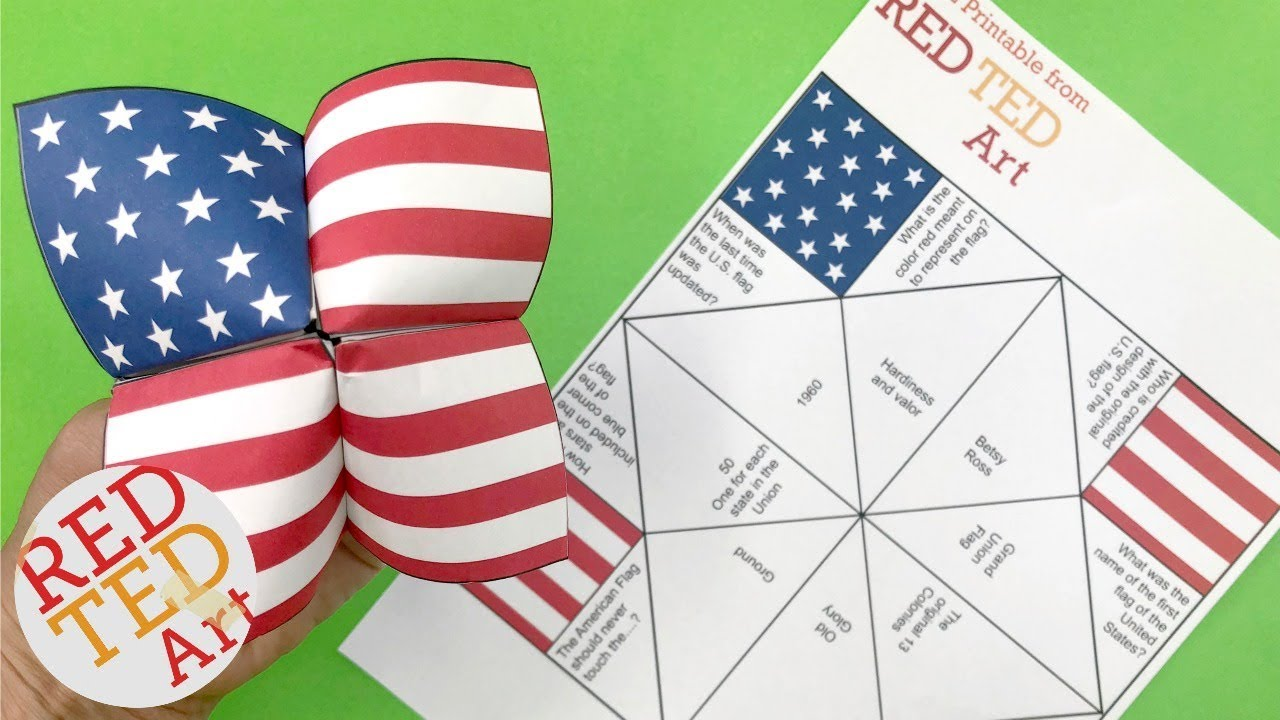 image relating to 4th of July Trivia Printable titled American Flag Cootie Catcher Printable and Quiz!