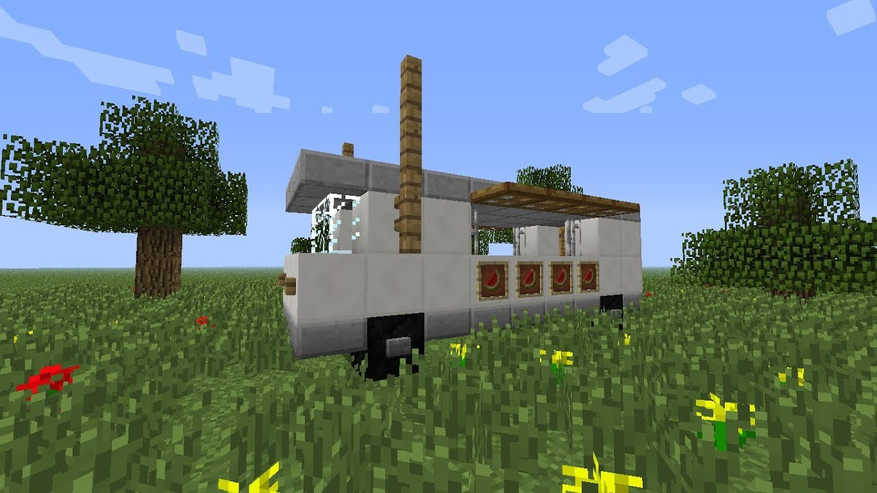 Minecraft tutorial how to make a food truck youtube for Cuisine minecraft