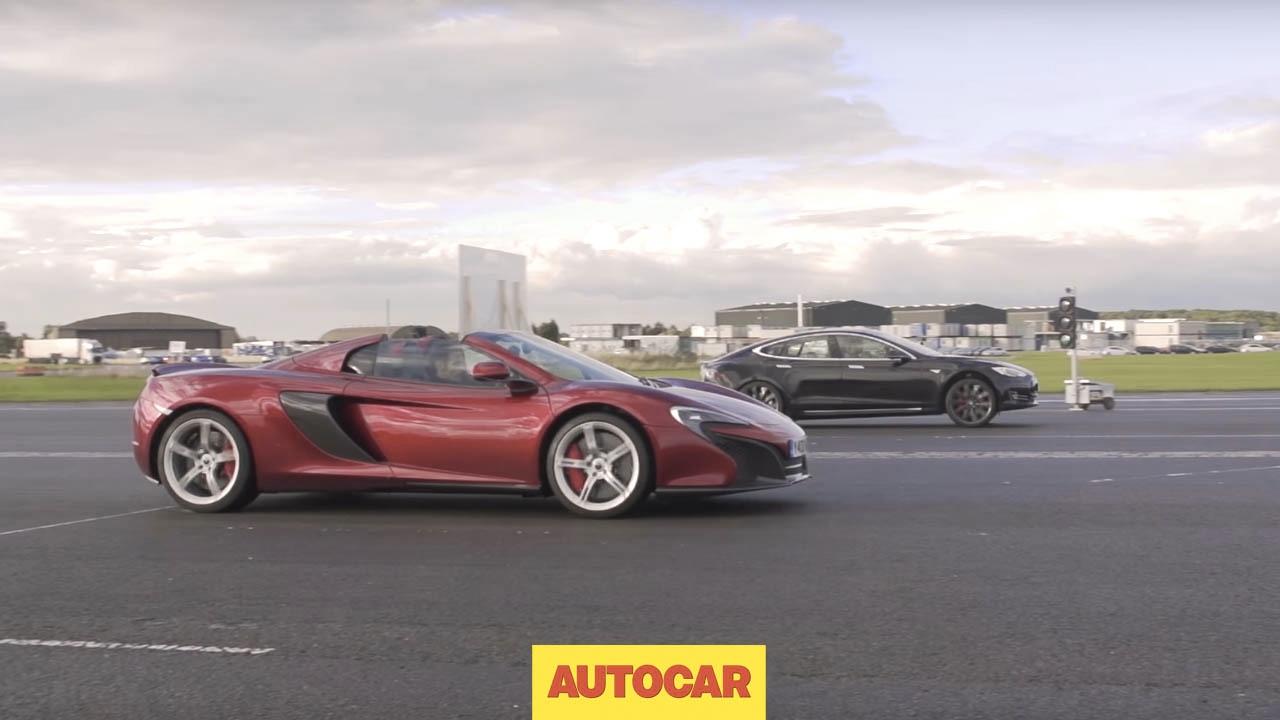 Tesla Model S P85D vs McLaren 650S   Drag Race   Autocar