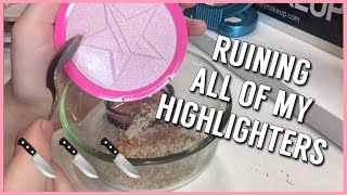 MIXING ALL MY HIGHLIGHTERS TOGETHER TO FORM A NEW HIGHLIGHT | Kyla Diana
