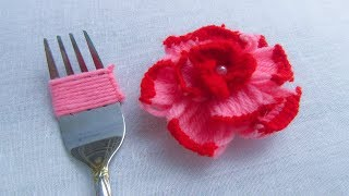 Modern Hand Embroidery , Easy Flower Embroidery Trick with Fork, Rose Flower