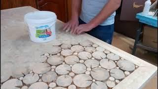 как сделать стол из деревянных спилов своими руками