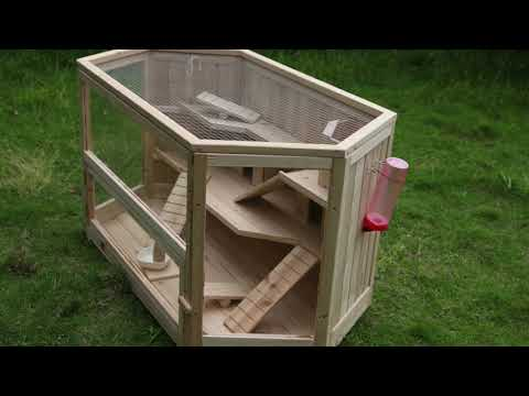 WHC001 - Deluxe Wooden 3-Tier Hamster Cage - Large