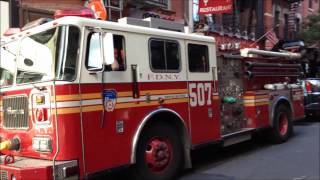 RARE FDNY RESERVE ENGINE 507 NEAR MULBERRY STREET IN LITTLE ITALY WORKING THE SAN GENNARO FESTIVAL.