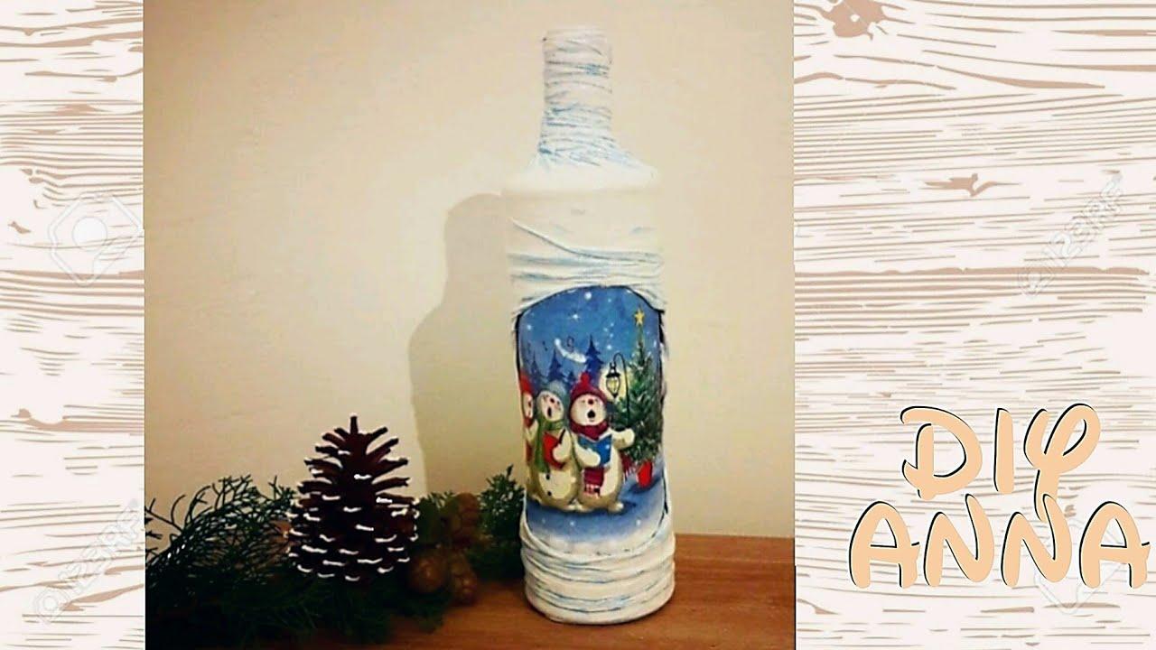 Christmas Decoupage Bottle With Tights Diy Shabby Chic Ideas Decorations Craft Tutorial Uradi Sam