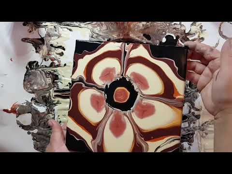 Fluid Painting Techniques l Acrylic Pour l Bottom Bottle Pour l Fall Colors