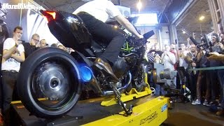 Motorcycle Live - 326bhp Kawasaki Ninja H2R spits flames on rolling road dyno BEST VIDEO!