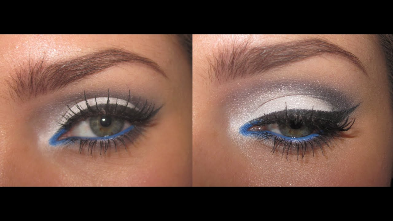 arab inspired eye makeup: white, grey and electric blue!