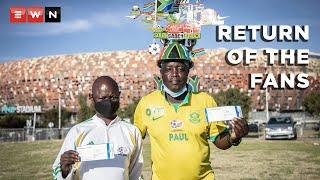 Two thousand vaccinated soccer fans descended on the FNB stadium for a World Cup qualifier game between South Africa and Ethiopia on 12 October 2021. This is the first time in 18 months that fans are allowed to watch a sports game live from the stadium.   #BafanaBafana #WCQ2022