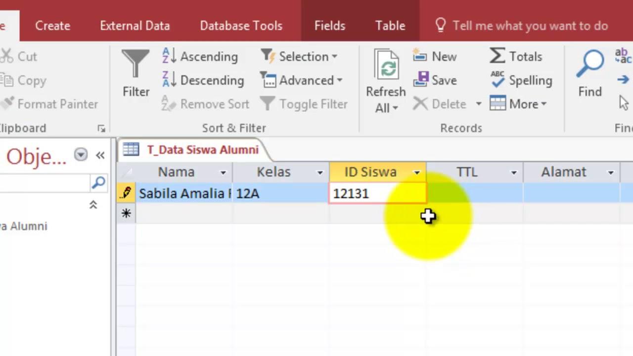 Tutorial Membuat Database Di Microsoft Access 2016 Youtube