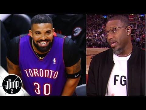 various colors 9dcb1 31b7b Tracy McGrady reacts to Drake's Dell Curry Raptors jersey from Game 1 | The  Jump