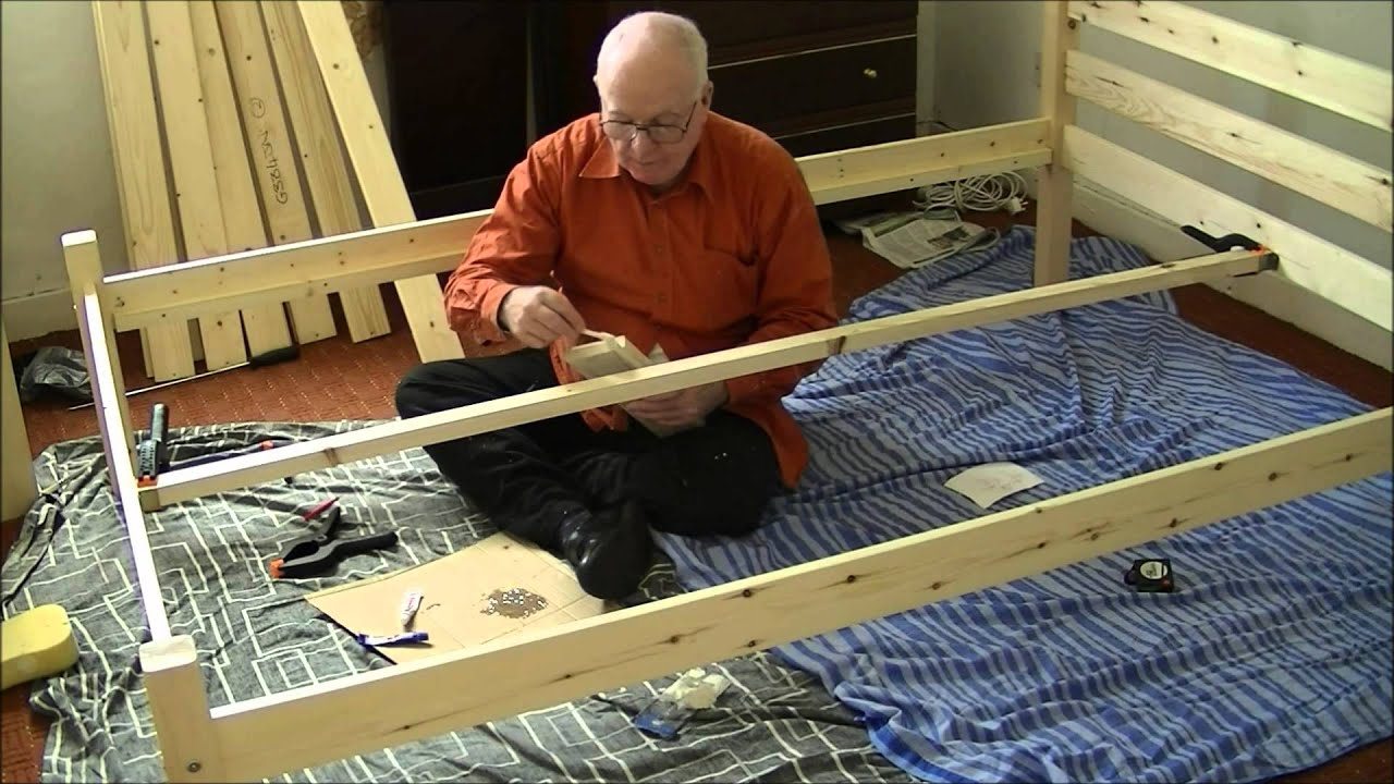 assemble pine wood bedframe 5