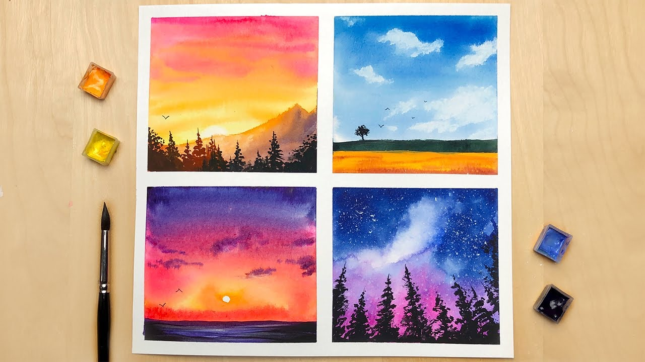 4 Type Of Landscape Paintings Watercolor Landscape Painting For Beginners Watercolor Painting Youtube