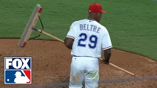 Adrian Beltre expertly dodges his postgame celebration