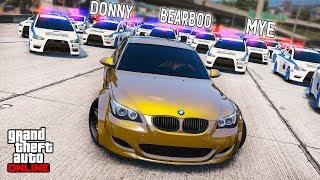 ПОЛИЦЕЙСКАЯ ПОГОНЯ ЗА ЗОЛОТОЙ BMW M5 E60 В ГТА ОНЛАЙН ПОЛИЦЕЙСКИЕ ДОГОНЯЛКИ В ГТА 5