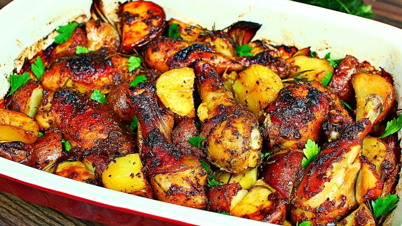One Pan Roasted Chicken And Potatoes Recipe Easy Delicious Roasted