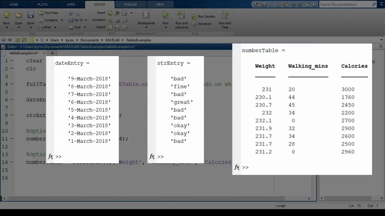Matlab Basics: Converting Tables To Arrays Or Matrices