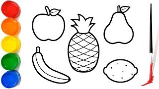 Vegetables Drawing and Coloring for Kids   Apple,Banana,pineapple drawing for children