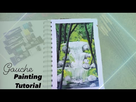 Step By Step Waterfall Landscape Painting for Beginners    Gouache Color