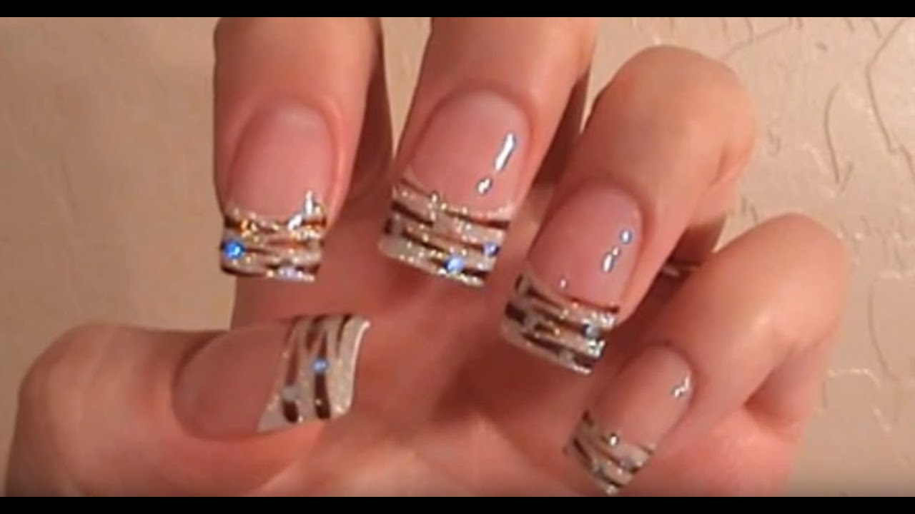 Acrylic Nails Tutorial White Glitter Tips With Animal Print You