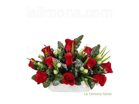 Arreglos florales artificiales jardinera cer mica rosas - Arreglos florales naturales ...