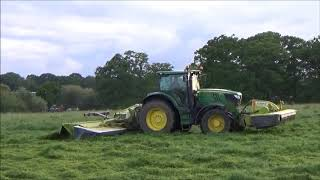 Mowing for Silage with John Deere 6210R & Triples