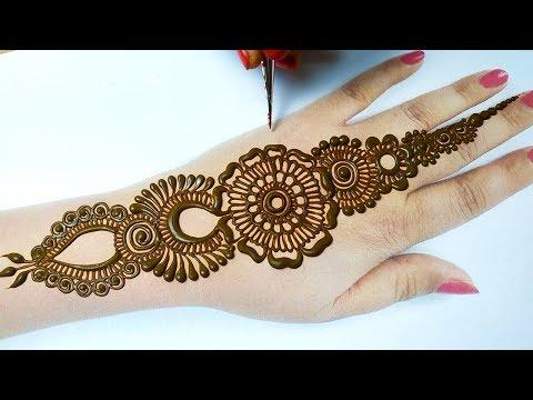 आसान मेहँदी डिज़ाइन लगाना सीखे - Easy Bridal Arabic Mehndi Design Backhand - Stylish Mehndi Design