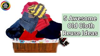 5 Useful Things To Do From Old Clothes/5 Awesome Old Clothes Reuse Ideas /Best Ideas from waste