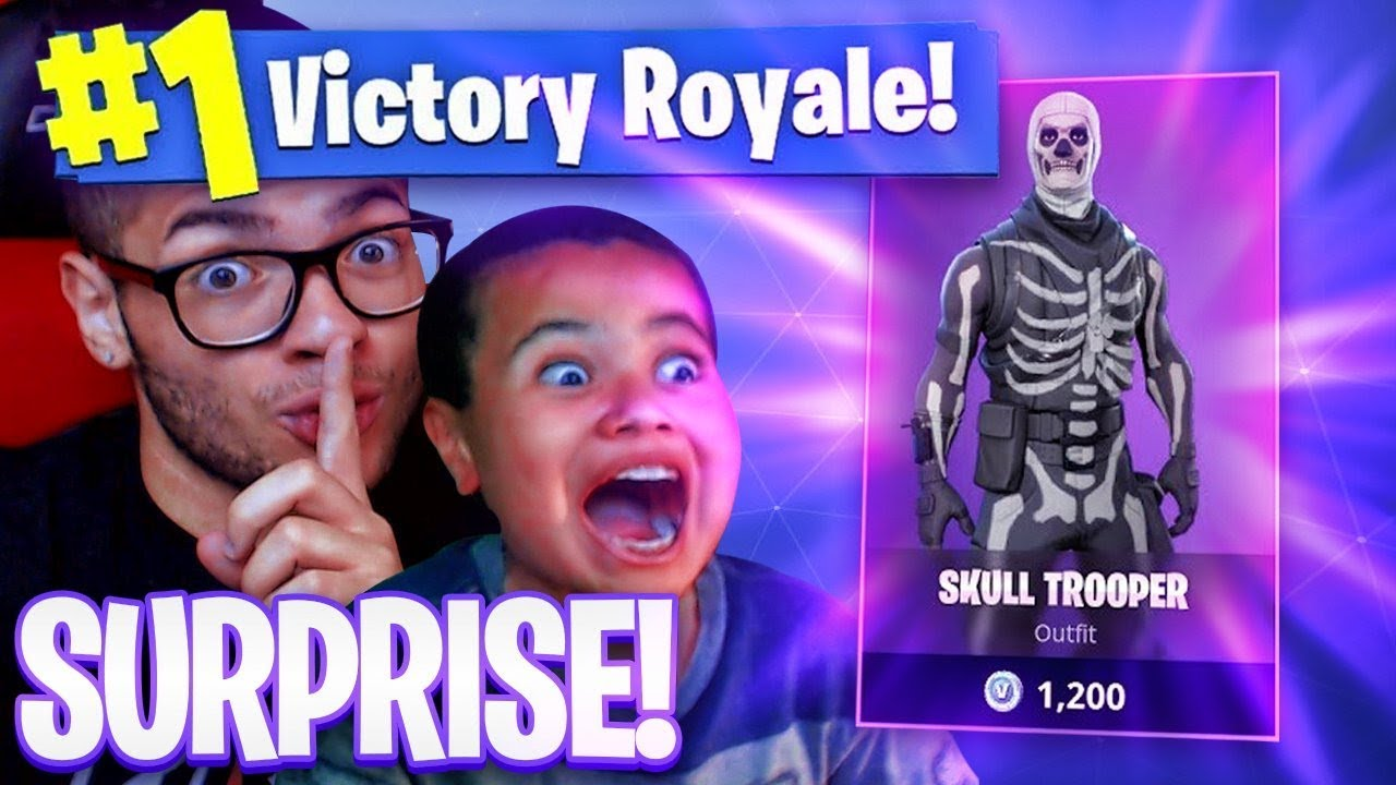 SURPRISING MY 9 YEAR OLD BROTHER WITH *RARE* SKULL TROOPER