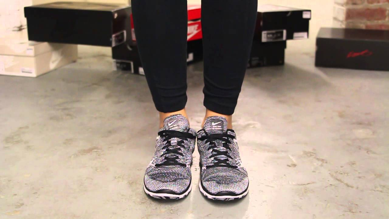 new concept 10a47 f63d1 Women s Nike Free Flyknit TR Black - White On-feet Video at Exclucity -  YouTube