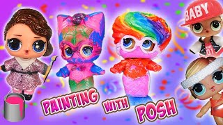 LOL Surprise Dolls Painting with Posh, Beautiful Mermaid and Under Wraps Gels!   LOL Dolls Families