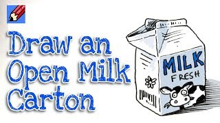 How to draw an Open Milk Carton Real Easy for Kids and Beginners