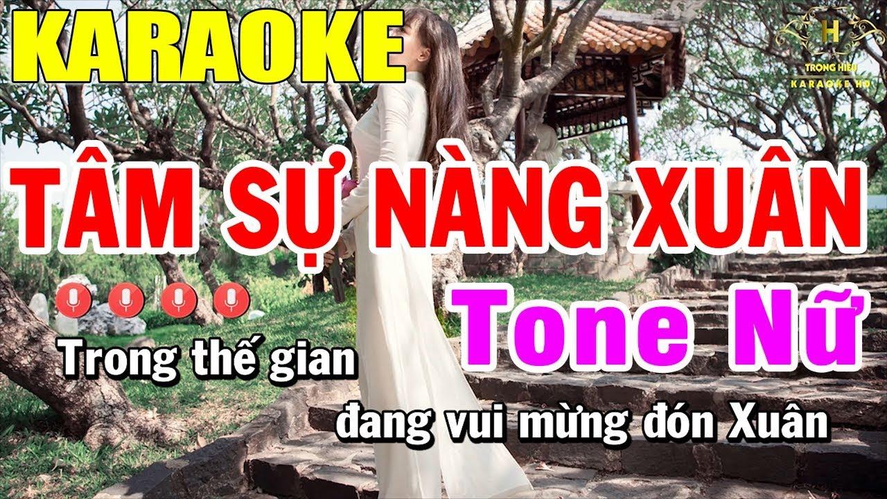 Karaoke Tâm Sự Nàng Xuân Tone Nữ Nhạc Sống | Karaoke Trọng Hiếu