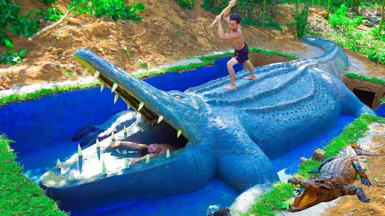 Download Top 10 Works Build Swimming Pool Water Slide Crocodile Around Secret Underground House - full
