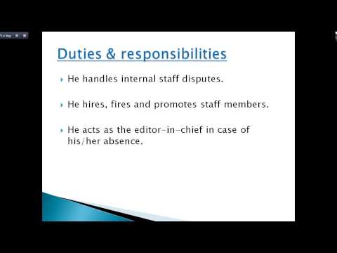 Duties and Responsibilities of night news editor, managing and resident editor