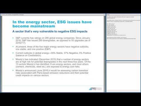 PRI Webinar: ESG Analysis for Energy and Utilities Credit Analysts