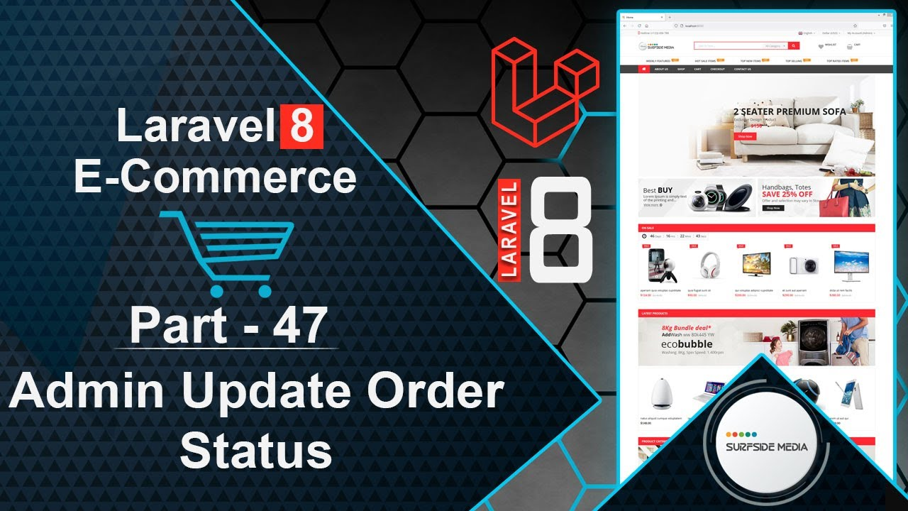 Laravel 8 E-Commerce - Admin Update Order Status