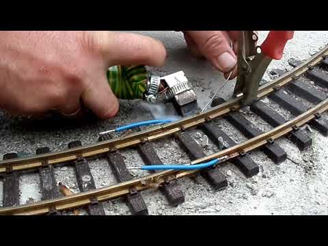My garden layout soldering the rail joints