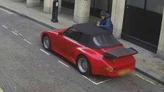 Man caught on camera trying to steal Porsche after cutting hole in convertible roof