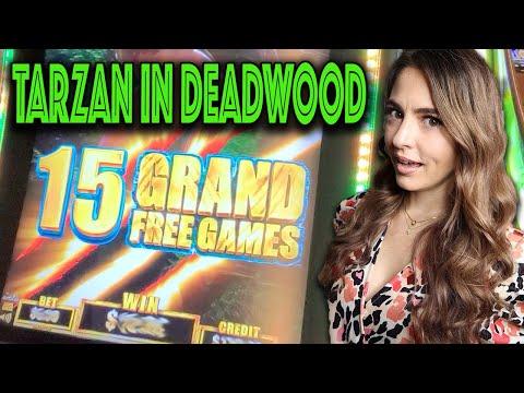TARZAN Slot Machine 15 Grand Free Games In Deadwood SD!