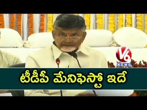 TDP Manifesto 2019   AP CM Chandrababu Releases Election Manifesto   V6 News
