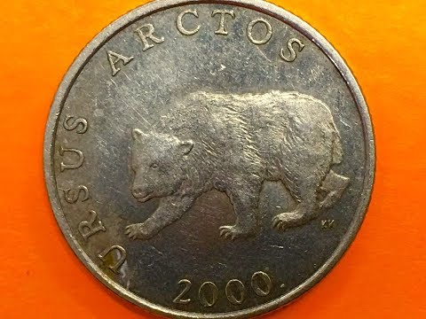 Croatia 5 Kuna 2000 Our 1st Croatian Coin URSUS ARCTOS and MARTEN