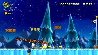 New Super Mario Bros. U - Frosted Glacier-2 - Star + Cooligans = consecutive 1-Ups (Wii U)