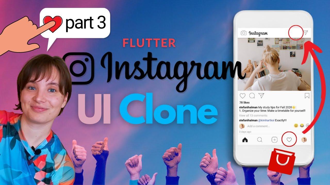 Flutter Tutorial - Instagram UI Clone   Part 3 - New UI design, RichText, TextSpan, Widget functions