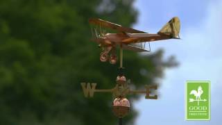 Good Directions 9521p Biplane Weathervane   Polished Copper